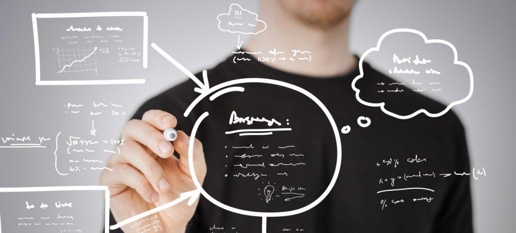 man drawing plan on the virtual screen