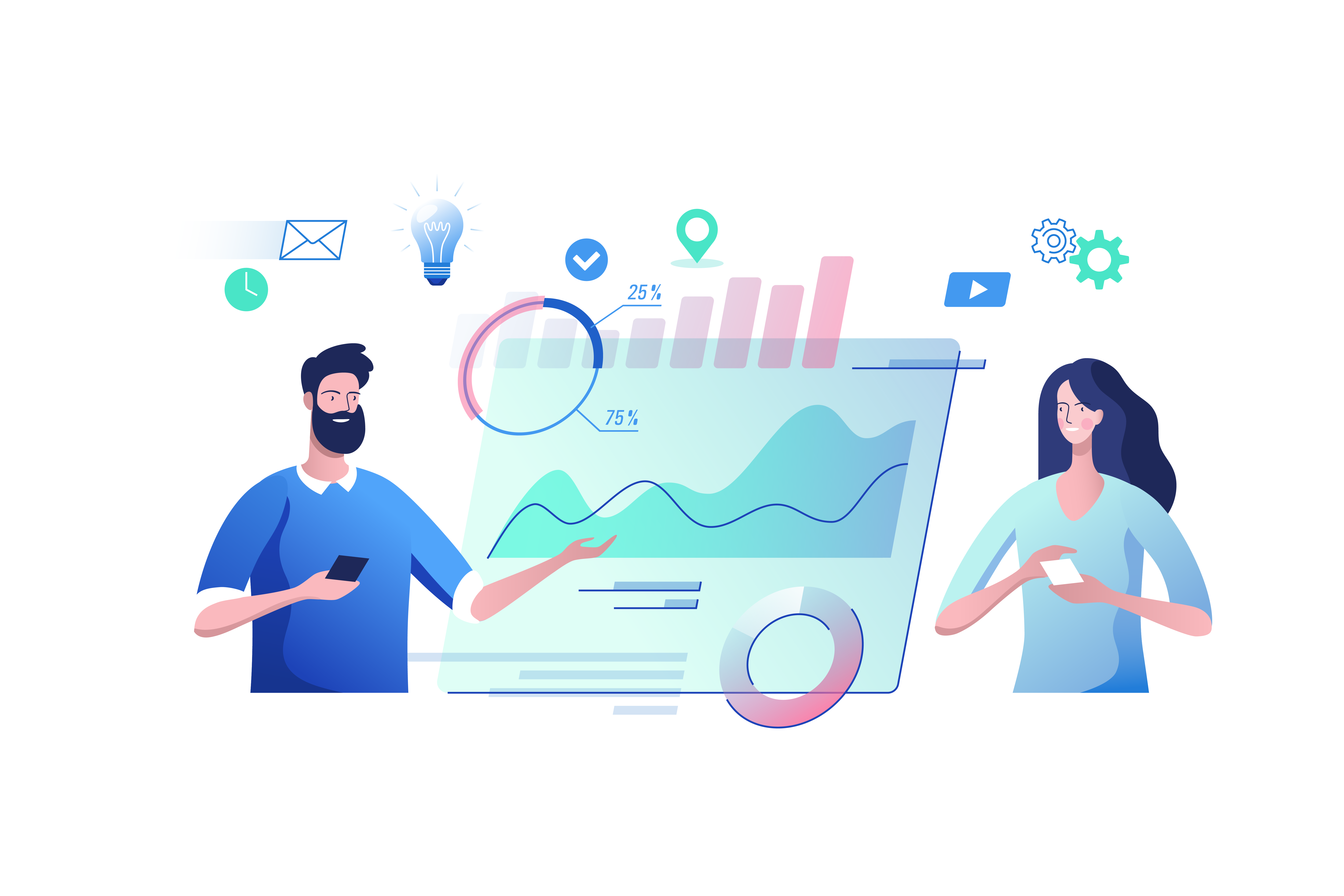Homme femme Analytics graphiques