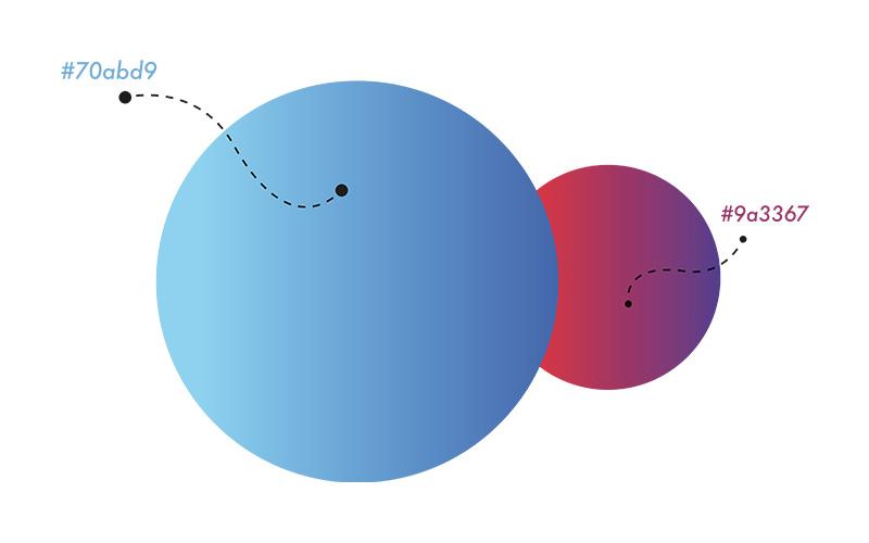 Codes couleur deux cercles bleu et rouge
