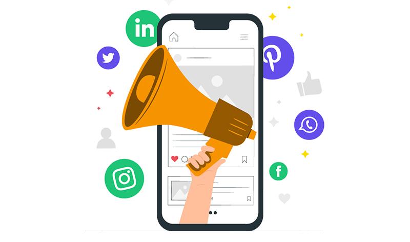 dessin smartphone community manager facebook twitter instagram haut parleur