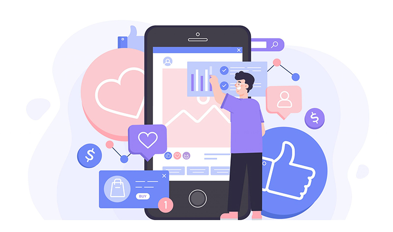 image social media manager dessin iphone